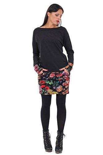 3Elfen Kleid gerade geschnitten Winterkleid Langarm Damen Taschen Minirock Sweatshirt Winter - schwarz Mystic Rose S