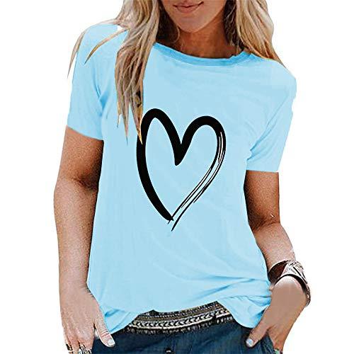 Liebevoll bedrucktes kurzärmeliges Pullover mit rundem Hals Vielseitiges T-Shirt Lässiges, lockeres T-Shirt