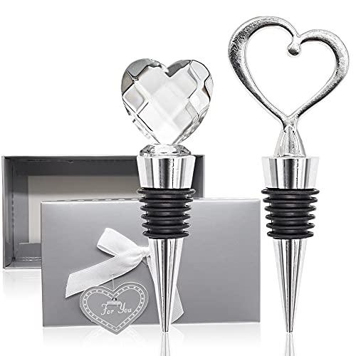 Tapones para Botellas de Vino, 2 Tapones de Cristal y Metal en Forma de Corazón para Guardar el Vino, Champán, Tapón de Botella Reutilizable para Bodas, Regalos de Decoración Del Día de San Valentín