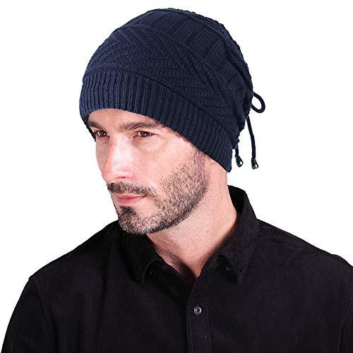 Bonnet Tricoté À Double Usage Plus Bonnet Polaire Bonnet Chaud 27.5 * 23.5Cm Marine