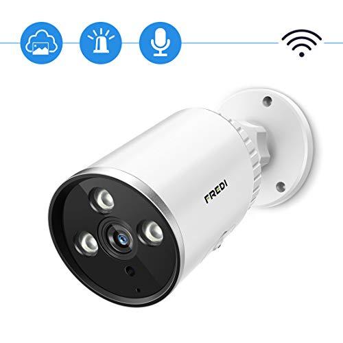 FREDI Cámara de Vigilancia para exteriore, 1080P HD Inalámbrica Seguridad/Cámara Impermeable IP Sistema de cámara con Audio bidireccional, visión Nocturna, detección de Movimiento-Blanco