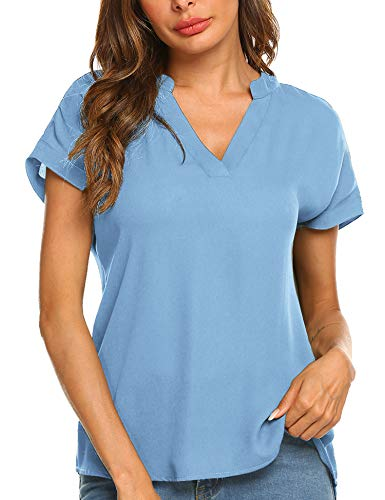 Parabler Damen V-Ausschnitt Hemdbluse Chiffon Blusen Frauen T-Shirt Tops Sommer Einfarbig Kurzarm Casual Tunika Loose fit Dunkelblau S