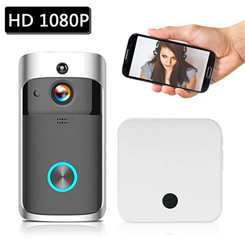 Intelligente IP-video-intercominstallatie, WIFI-video-deurintercom, deurbel, WIFI-deurbel-camera voor woningen, IR-alarm, draadloze beveiligingscamera 1x1 zwart