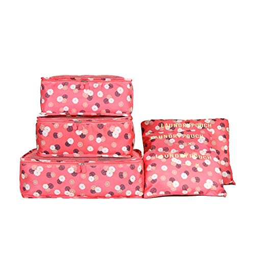 Honton Travel Storage Bag Set Travel Organiser Packing Bags Finishing Bag with zipper for Makeup Brush Towel Socks Bra Footwear Red 6Pcs
