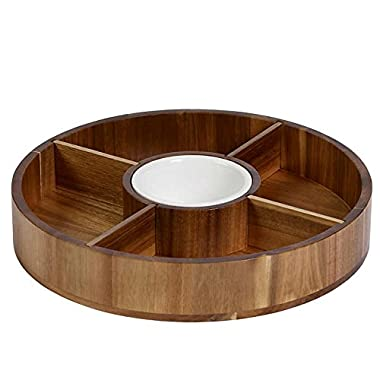 Denmark Acacia Chip and Dip Serving Set with Ceramic Bowl, Wood Platter and Removable Dividers