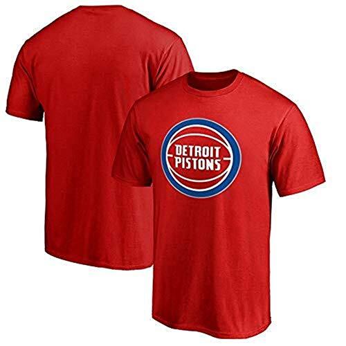 LLSDLS T-Shirt Manica Corta da Uomo Estiva Detroit Pistons NBA Maglia Basket Basket Sport t-Shirt Uomo e Donna Sciolto Maglietta (Color : Red, Size : M)