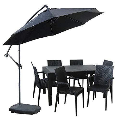 ガーデンテーブル90×150cm・チェア6脚・パラソルセット LA・TAN ひじ付き (C362-7C-S2)