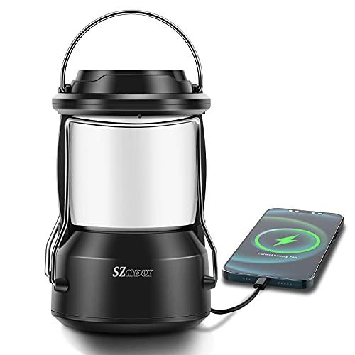 LED Campinglampe, Tragbare LED Camping Laterne, Wiederaufladbare USB Lampe mit Bügel und Haken, 5200mAh Dimmbar Zeltlicht Außenlicht, Notfallleuchte für Stromausfällen,Wandern, Garten, Outdoor, Angeln