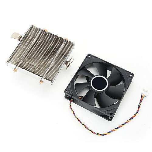 SanZHONGsd Ventilador de CPU, Mini CPU Cooler, CPU Fan Desktop PC Accesorio 4 pines Conector Down Blow 2- Latón- Tubo para AMD 775/1155/1366