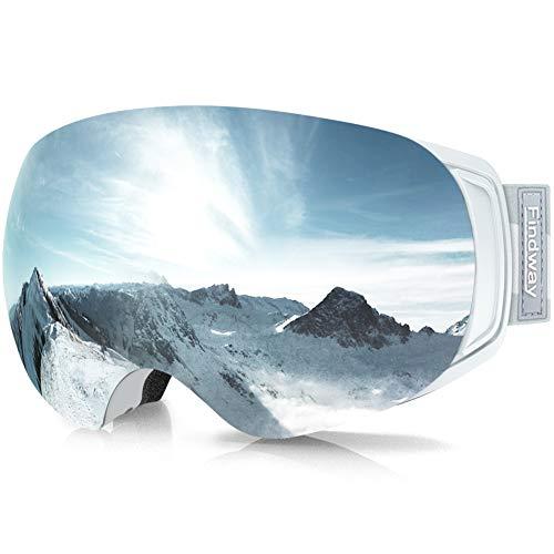 findway Maschera Sci, Occhiali da Sci Magnetica Donna Uomo, Maschera per Snowboard e Sci per Occhiali da Vista OTG,Argento Lente Polarizzata Specchio