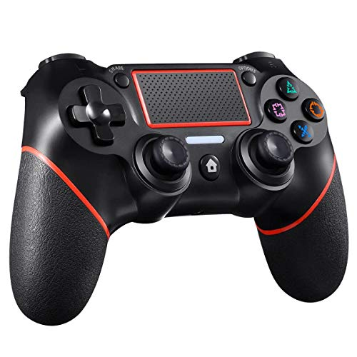 CHEREEKI Wireless Controller kompatibel mit PS-4 / PS-4 Pro/PS-4 Slim, Game Controller mit Dual Vibration 6-Achsen-Gyro Sensor Touchpanel Gamepad Controller Joypad Joystick Audiofunktion (Rot)