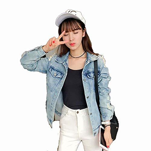 Chaqueta Vaquera, Impresión Pintada Moda Abrigo De Jeans Manga Larga De Un Solo Pecho Novio Bolsillo Letra Ocio Saco Primavera Y Otoño