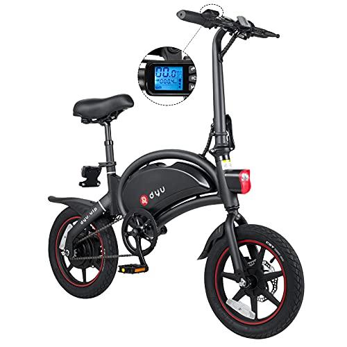 DYU D3+ Bicicleta Eléctrica Plegable 14 Pulgadas, 16MPH hasta 38 Millas Bicicleta Eléctrica Inteligente con batería 36V 10Ah, Freno Disco Doble, 3 Modos de conducción Smart Ebike