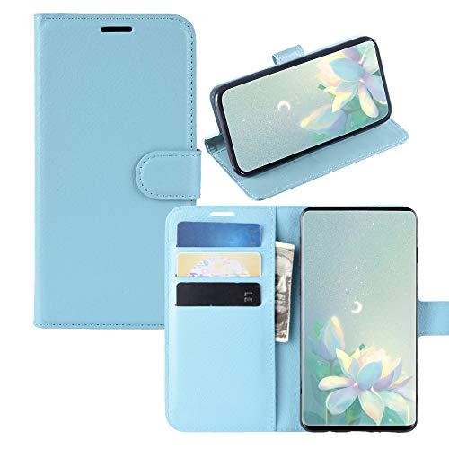 JZ Capa carteira [Litchi Grain] para Sony Xperia XZ2 Premium Couro PU Carteira Flip Cover - Azul