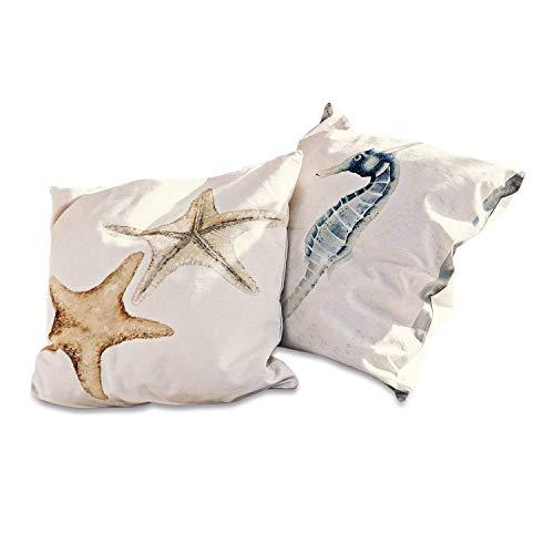 Loberon Kissen 2er Set Upshur, Baumwolle, Polyester, H/B 50/50 cm, beige
