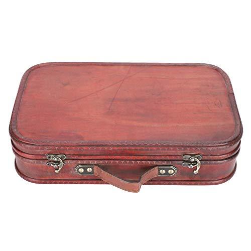 Adorno de maleta de madera de estilo chino, maleta retro, caja de madera de época antigua, caja de decoración artesanal, bolsa de equipaje de mano, accesorios de fotografía para estudio fotográfico