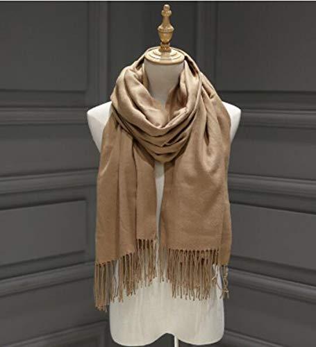 Frauen einfarbige Kaschmirschals mit Quaste Lady Winter Herbst Langer Schal Denker Warmer weiblicher Schal Herren Schal - Kamel