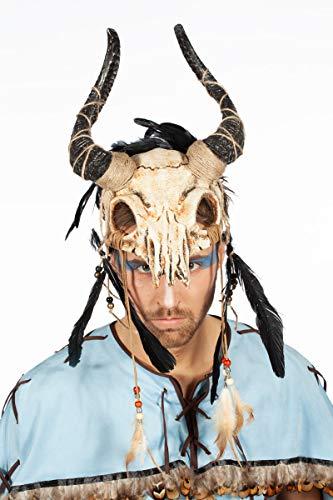 shoperama Kopfschmuck Tierschädel mit Hörnern Federn Perlen Voodoo Priester Krieger Schamane Barbar, Farbe:Beige/Braun