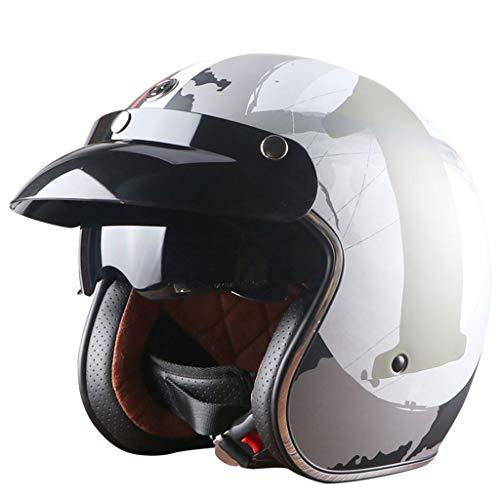 ZXW Vintage Helm Full Cover Motorrad Männer und Frauen Jahreszeiten Winter Windproof Sonnencreme Helm (Farbe : E, größe : L)