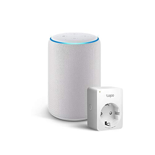 Amazon Echo (3ª generazione) - Tessuto grigio chiaro +Tapo P100 Presa intelligente Wi-Fi, compatibile con Alexa