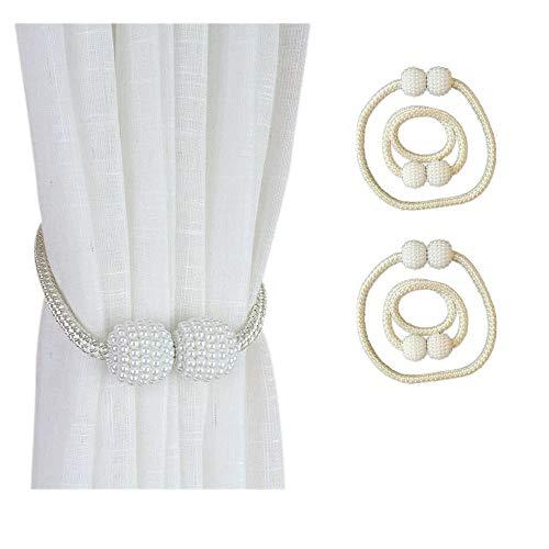 4 Imán para Cortinas,corbatas de cortina magnéticas, pequeños clips de hebilla de cortina de perlas Retenciones de cuerda, para el hogar, la oficina, la decoración de la ventana del hotel(Beige)