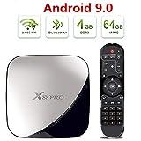 Android 9.0 Receptor de TV, X88 4 GB de RAM 64GB ROM androide de la caja 3D HD 4K RK3318 Quad Core de 64 bits dual BT 4.1 WIFI 2.4G y 5G Ethernet Set Top Box Internet Reproductor de vídeo Media Player