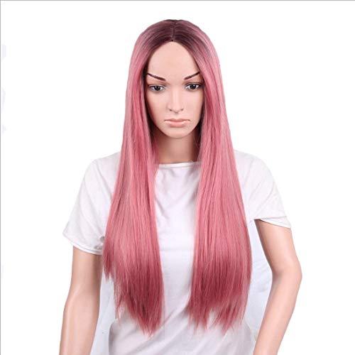 Pelucas de Pelo de Fibra química de la Peluca 26 Pulgadas para Las Mujeres Pelucas de Rosa Rosa de Color Rosa Recto Largo con Pelucas de Rollo Largo para Cosplay/Fiesta (Color: Rosa rosa1) ZDWN
