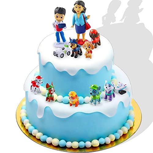 Adornos para Tartas,12 Piezas Cake Topper de Patrulla de Perros Pata Minifiguras Topper de Tarta Decoración para Niños S Decoración de Fiestas, Decoración de Mesa, Figuras Coleccionables (B)