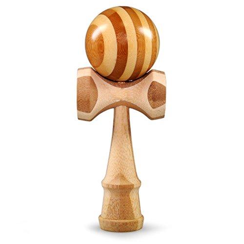 Ganzoo Kendama aus Buchen-Holz, Original Japanisches Traditionelles Holz-Spielzeug, Kugel-Spiel, Geschicklichkeits-Spiel, Geschenk (Holz Streifen)