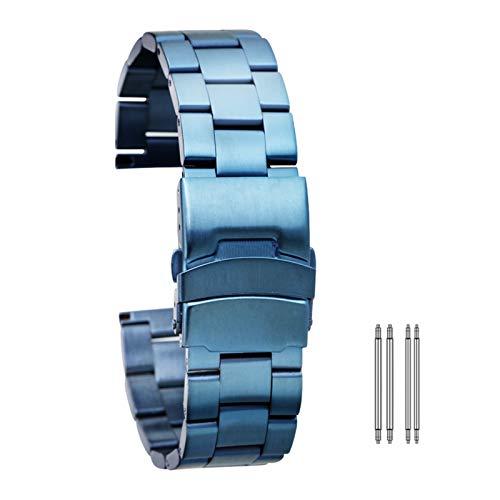 DFKai1run Correa de Acero Inoxidable, Acero Inoxidable Correa 20mm 22mm Reloj del Metal de la Banda Barras del Resorte Pulsera Pulseras Broche Plegable con Seguridad Oro Rosa Azul del Oro Deportes de