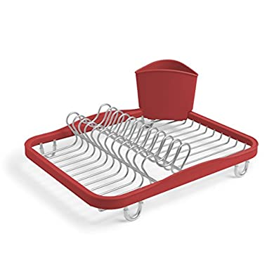 Umbra Sinkin Dish Drying Rack – Dish Drainer Caddy with Removable Cutlery Holder Fits in Sink or on Countertop, Red