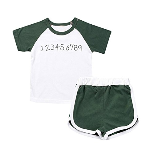 Staron Toddler Baby Kids Short Sleeve Simple Print Tops+Shorts Pants Clothes Set (0-1 Years old, Green)