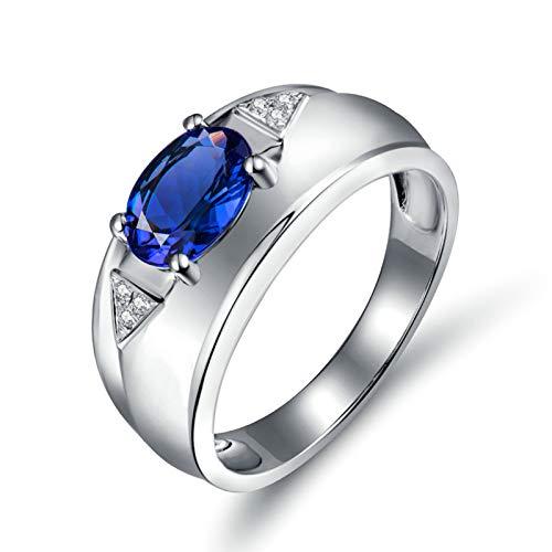 Daesar Anillos de Oro Blanco de 18 Kilates Hombre,Oval con Triángulo Tanzanita Azul 1.16ct Diamante 0.03ct,Plata Azul Talla 17