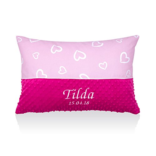 Amilian® Kissen 40 x 60 cm mit Namen Datum Herzen Rosa/Rosa