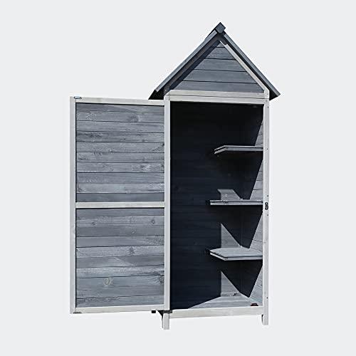 Wiltec Gartenschrank grau aus Holz 77x53x179cm mit Tür & Satteldach mit Bitumenisolierung