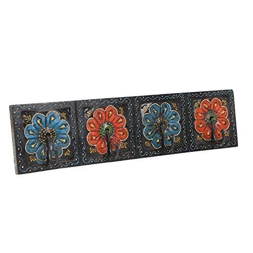 Perchero oriental Antara E pintado a mano con 4 ganchos, 46 x 6 x 11,5 cm (ancho x profundidad x alto) de madera maciza, perchero de pared en bonitos patrones florales | MA13 04 E