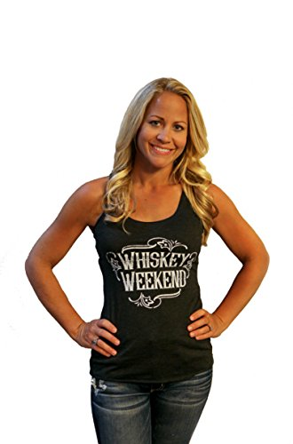 Tough Little Lady Womens Graphic tee Whiskey Weekend Black Tank MD