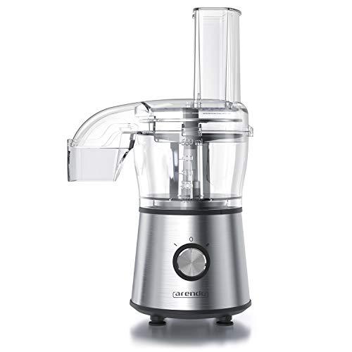 Arendo - Multi Zerkleinerer elektrisch | Food Processor | Küchen-Zerkleinerer, Mixer | Ice Crusher | 2 Geschwindigkeitsstufen | Ein-Hand-Bedienung | 2:1-Einsatz Schneiden & Raspeln | BPA-frei