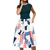 COZOCO Vestido para Mujer Casual Verano Mujer Mujer Verano Vestido Playa Mujer Vestido De Playa Ropa De Mujer (Multicolor,EU-36/CN-M)