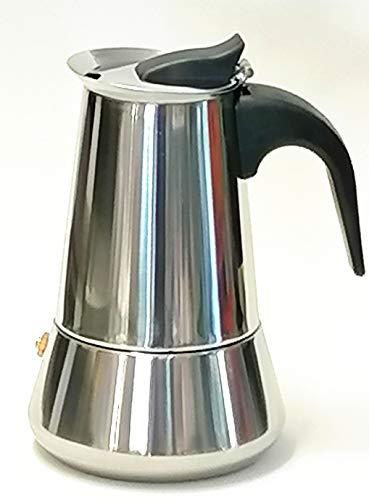 OCEANO Caffettiera Induzione 4 Tazze Alto 15cm Pesa 429 gr -Caffettiera Espresso-Moka-in Acciaio Inox con Il Manico e Il Pomelo Nero (4 Tazze Inox)