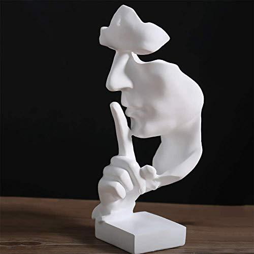 Decorazione per la casa Il silenzio è d'oro - Statue di uomini silenziosi realizzati a mano Resina Scultura astratta Ufficio Decorazioni per la casa Regalo figurine,White