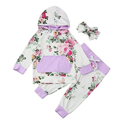 Bébé Ensemble de Vêtements,LMMVP Infantile Bébé Fille Garçon Sweat à Capuche Tops Pantalon Bandeau Vêtements Ensemble 0-24 Mois (80(6-12M), blanc)