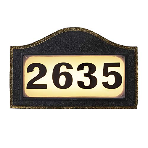 Solar Powered Address Numbers Signs, Lighted House Address Numbers Sign, Waterproof Resin Plaque Outdoor Lights for Houses, Garden, Street, Yard and Home