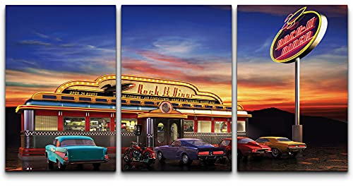 """wall26 - 3 Piece Canvas Wall Art - Retro American Diner at Dusk - Modern Home Art Stretched and Framed Ready to Hang - 24""""x36""""x3 Panels"""