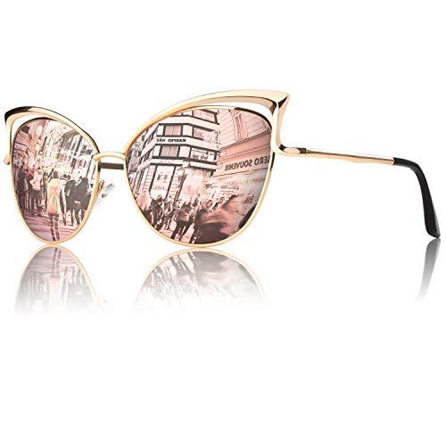 GQUEEN Ojos De Gato Espejo Gafas de Sol MT3 para Mujer B Dorado Rosa Grande