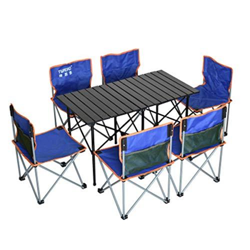 FOMT Mesa Plegable Camping con Sillas Dentro,Juego De Mesa para Acampar Al Aire Libre con Luz Plegable Portátil Que Se Utiliza para Acampar Barbacoa Acampar Al Aire Libre,Azul,L