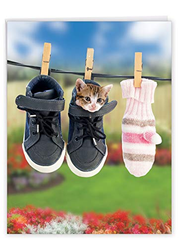 NobleWorks, Hang in There - Big Friendship & Encouragement Card (Jumbo 8.5 x 11 Inch) - Cute Pet Cat Greeting Card with Envelope J6474CFRG