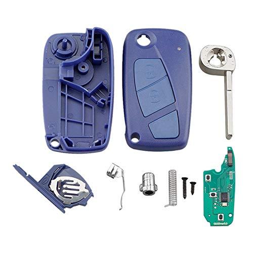 Yxwei Coche Smart Remote Key 2 Botones Clave de Coche Fob FIT para FIAT 500 Panda 433MHZ PCF7946 (Color : Blue)