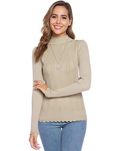 Abollria dames Jumpers met lange mouwen Solid Mock Coltrui Slim Knitwear Pullover Top voor dames