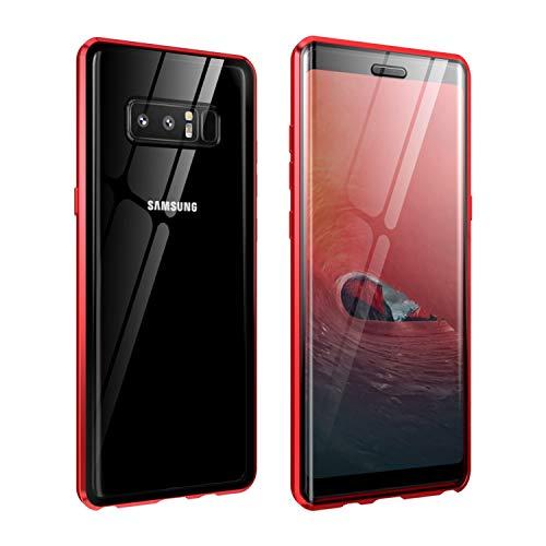 Carcasa de cristal para Galaxy Note 8, transparente, doble cara, cristal templado de alta definición 9H, con absorción de imán de metal y marco de parachoques para Samsung Galaxy Note 8